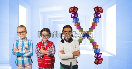 children standing arms crossed by app
