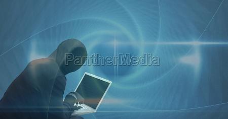 hacker using laptop on screen