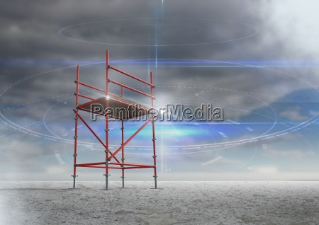 cloudy sky with 3d scaffolding