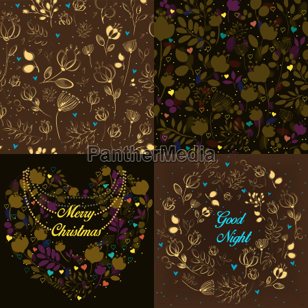 brown festive cards with floral patterns