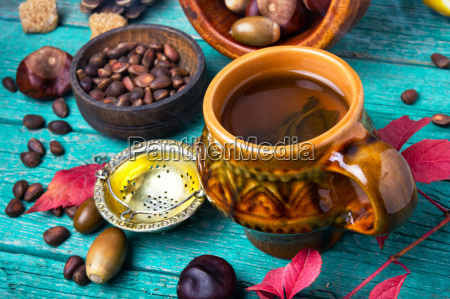 poster with herbal autumn tea