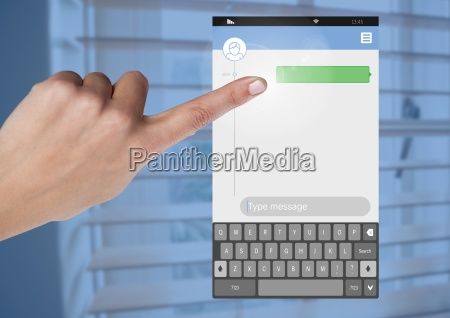 hand touching messenging social media app