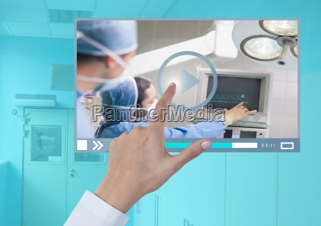 hand touching medical operation video player