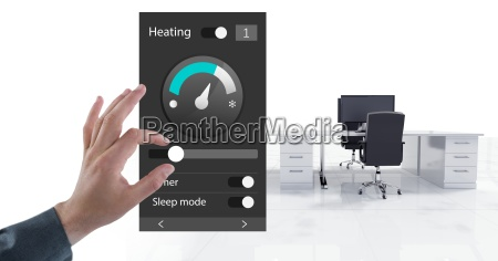 hand touching an office automation system