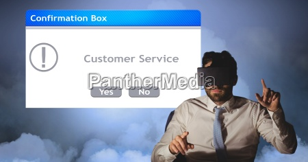 businessman wearing vr glasses and gesturing
