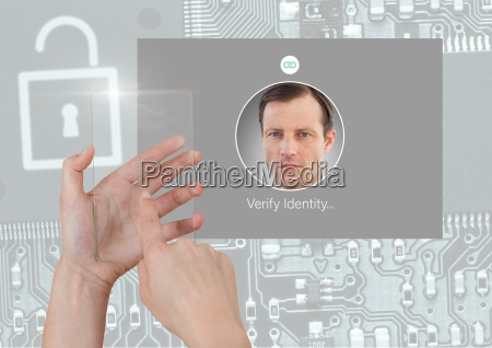 hand holding glass screen and identity