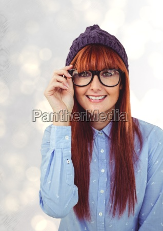 portrait of happy redheaded female hipster