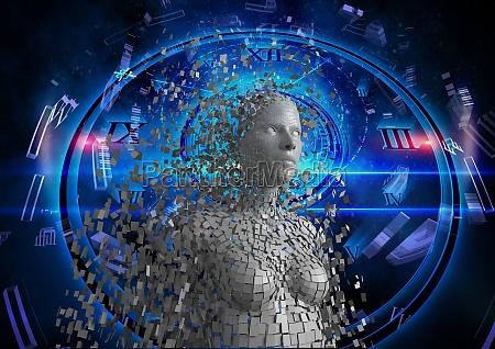 digital composite image of 3d woman