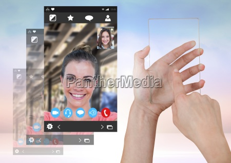hand touching glass screen with social