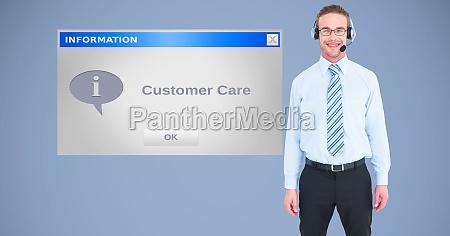 businessman wearing headphones by dialog box