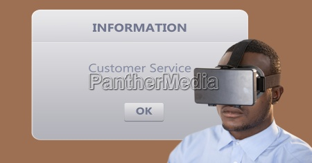 businessman wearing vr glasses by dialog