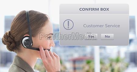 customer service representative using headset by