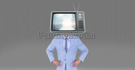 digital composite image of television on