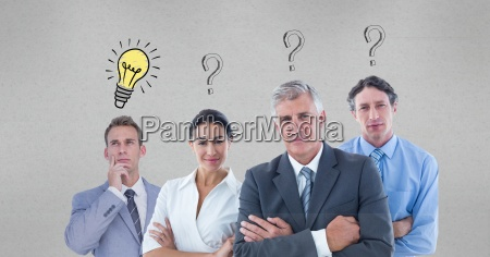 confident business people with question marks