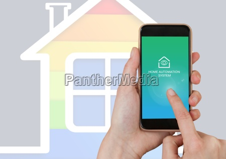 hand touching mobile ohone with home