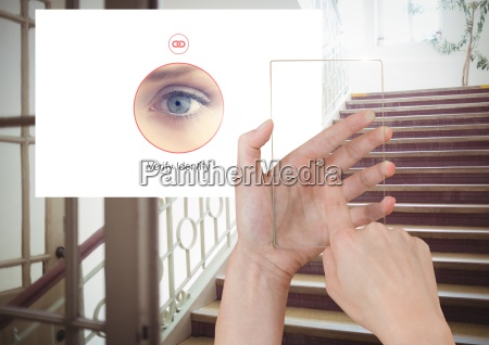 hand touching glass screen and identity