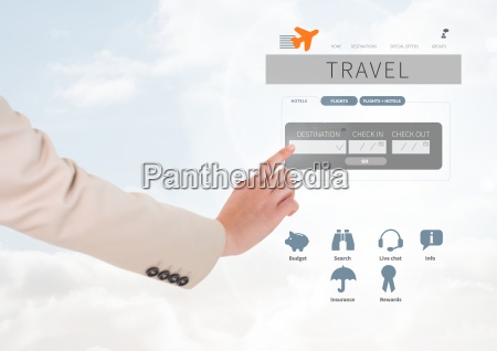 hand touching holiday travel break app