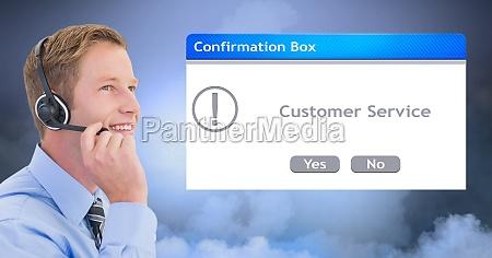 customer service representative wearing headset by