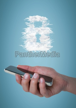 hand with phone and cloud lock