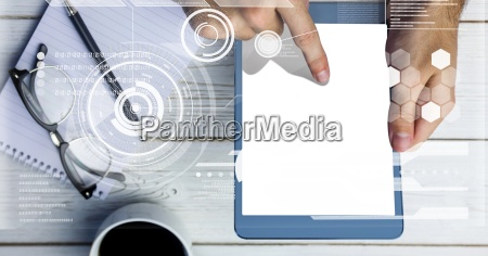 hand touching screen of digital tablet