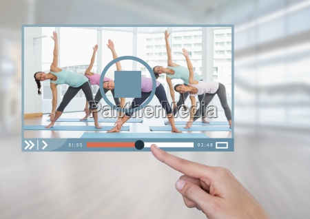 hand touching exercise fitness video player