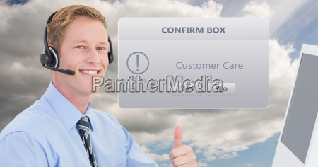 customer service executive showing thumbs up