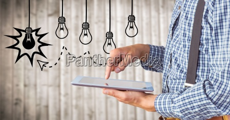 business man mid section touching tablet