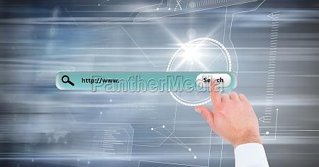 hand touching search screen