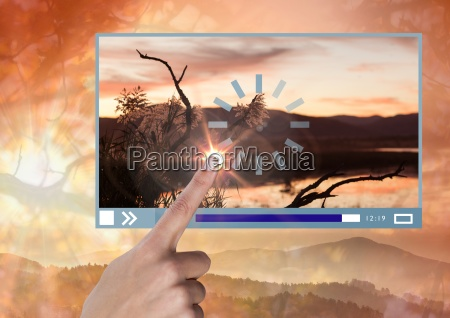 hand touching video player app interface