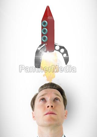 digital composite image of man looking