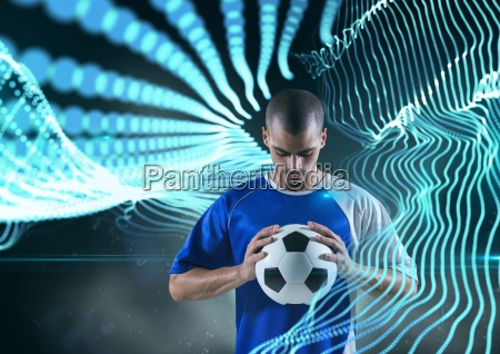soccer player with ball with blue