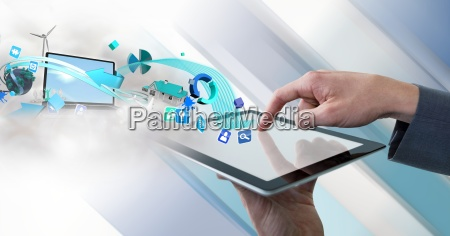 businessman touching tablet with interface with