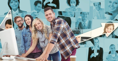 digital composite image of hipsters working