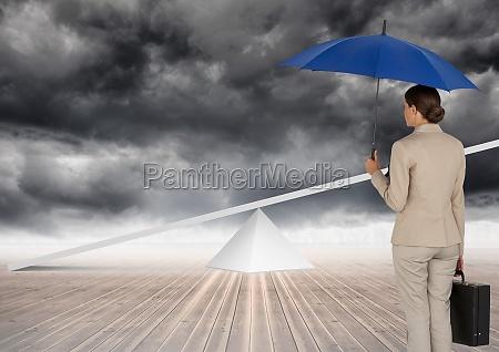digital image of businesswoman holding blue