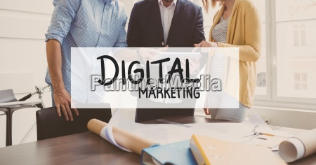 digital marketing text against business people
