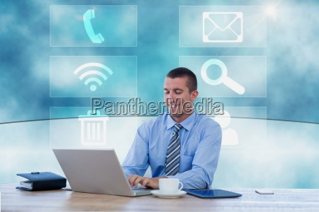 businessman working on his computer in
