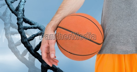 basketball player with stone dna chain