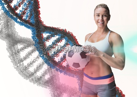 woman with soccer ball with blue