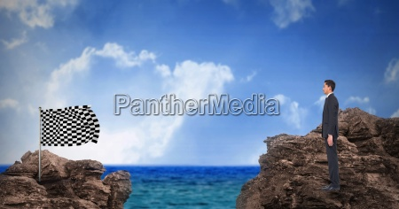 digital composite image of businessman standing