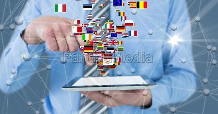digital composite image of businessman holding