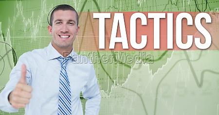 digital composite image of businessman gesturing