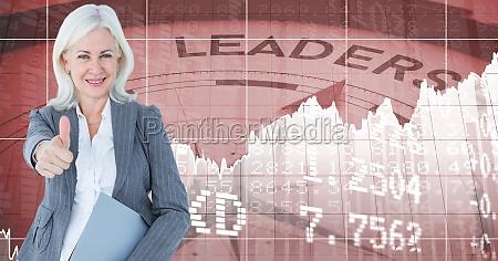 digital composite image of businesswoman gesturing
