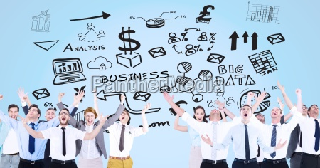 digital composite image of excited business
