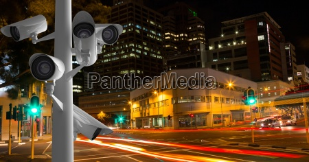 cctv cameras against light trails in