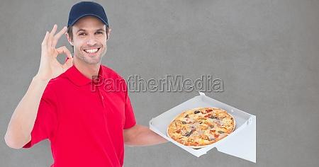 portrait of man delivering pizza gesturing