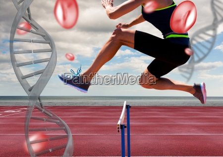 athlete jumping the hurdle with dna