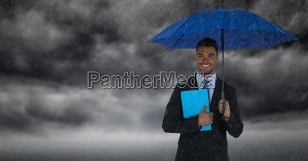 business man with umbrella and blue