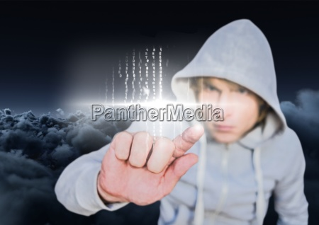 hacker touching a digital screen with