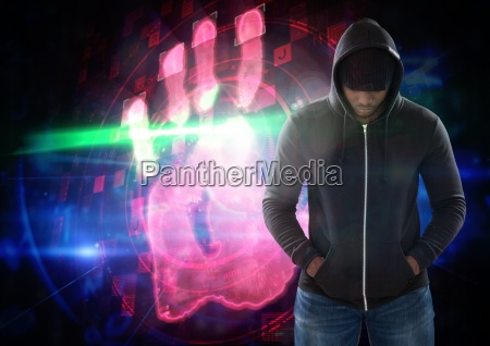 hacker in front of digital background