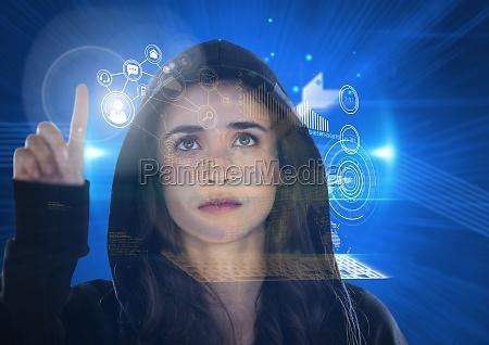 woman hacker touching the 3d screen
